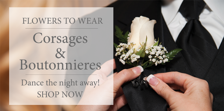 Dance the night away with a Stadium Flowers corsage and boutonniere. Get a matching couples package or glam it up with crystals and diamond pins.