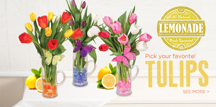 Spring forward with fresh squeezed lemonade tulips. Pick you favorite, citrus lemonade, blueberry lemonade or pink lemonade. Each arrangement made beautifully in a clear glass pitcher with complimenting ice crystals and a beautiful butterfly.