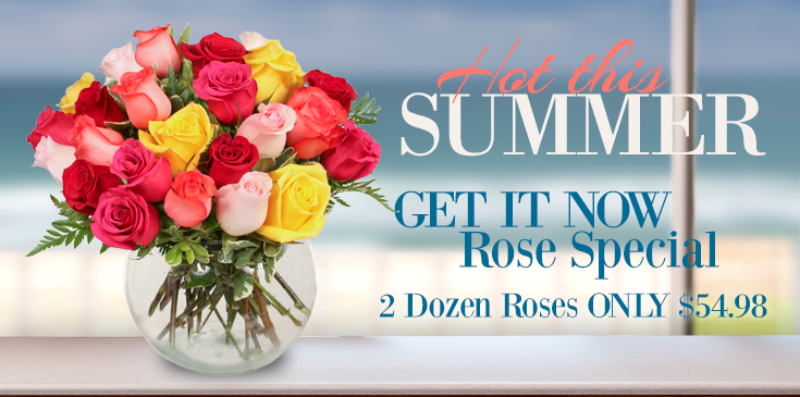 Summer's favorite flower, the rose, just got a whole lot sweeter! Enjoy two dozen arranged roses for only, $54.98, three dozen for $74.98, or make a statement with 4 dozen roses for $94.98!